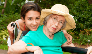 woman and elderly smiling