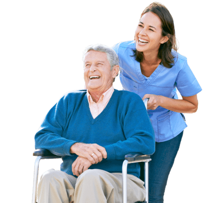 caregiver and elderly smiling