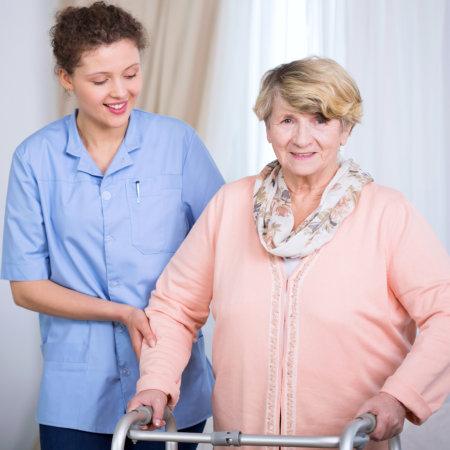 elderly accompanied by caregiver