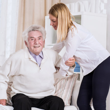 caregiver taking care of the elderly
